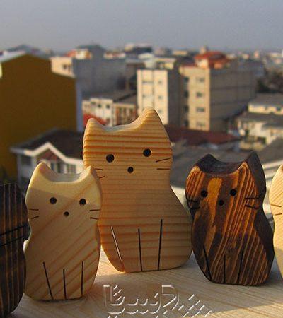 گربه و بچه گربه چوبی